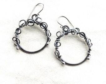 Sterling Silver Hoop Earrings - Large Silver Hoop Earrings - Holiday Hoop Earrings - Sterling Earrings - Hammered Hoops -
