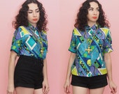 90s Pucci-Print Top // 90s does 60s Top // Geometric Print Shirt // Psychedelic Print // Medium