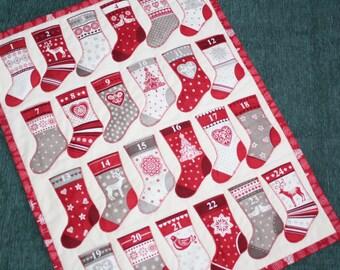 Advent Calendar Scandi Christmas Stockings, Red White Grey Christmas Wall Hanging, Holiday Decor, Christmas Decoration