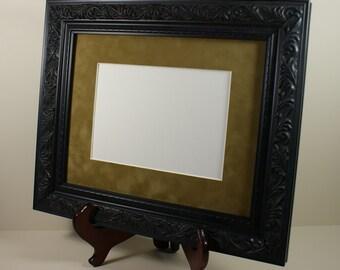 Black Picture Frame - Black Ornate Leaf Design - All Wood Photo Frame