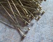 Antiqued Gold Ball End Headpins - 26 gauge - 2 inch Head Pins - Qty 80 pieces