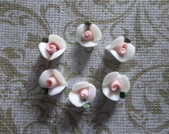 White Ceramic Rose Flower with Green Leaf & Pink Center - Flat Back 8mm Cabochons - Qty 6
