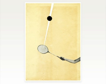 Pop Art Poster, Sport Art, Surreal Abstract Portrait, Paper Collage, Black and White, Minimalist, Simple Decor, Giclee Print - Tennis