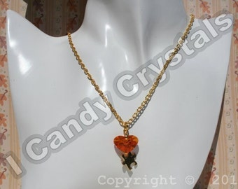 Gold Autism Love Puzzle Necklace with Orange Swarovski Crystal Heart