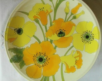 "Vintage METLOX POPPYTRAIL Wild Poppies 11"" Dinner Plate  Made in California Pottery Brilliant Poppies Dinner Plates 3 Available Poppytrail"