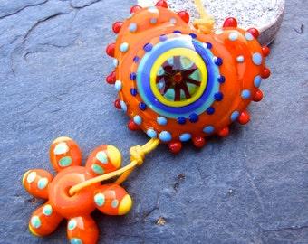 Flower Power - Handmade Lampwork Bead Set (2) by Anne Schelling, SRA