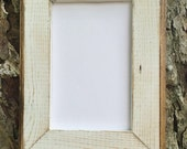 8x10 Picture Frame, White Rustic Weathered With Routed Edges