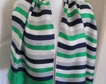 "ECHO Beautiful Vintage Green Blue White Silk Scarf - 15"" x 44"" Long"