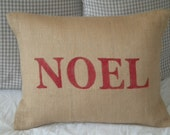 Red Noel Burlap Pillow Cover - Ready to ship