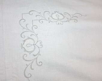 Vintage Coverlet Flat Sheet Cotton Embroidered White With Taupe Single