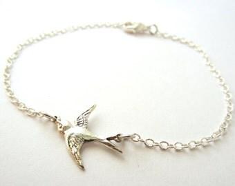 Silver Sparrow Bracelet Dainty Silver Jewelry Chain Bracelet Stacking Bracelet Layering Jewelry Bird Bracelet