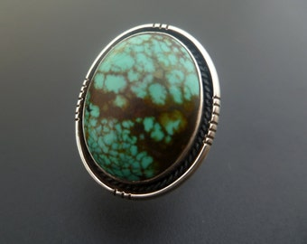 Handmade Sterling Silver Turquoise Statement Ring - Turquoise Ring - Mottled Turquoise Statement Ring - Size 7