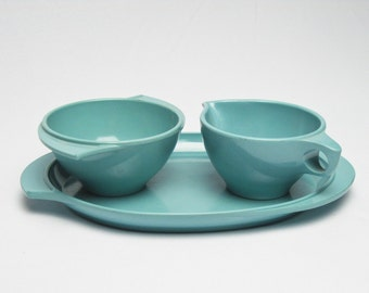 Melamine Cream and Sugar Set with Tray Boonton Melamine Turquoise Color