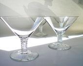Coupe Champagne Glasses 2 Martini Cocktail Glasses Air Twist Retro Glass Barware