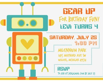 Heart Robot Birthday Invitation - Boy