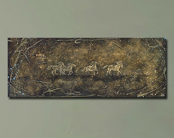 Original Whimsical Horse Painting -- 18x48 -- Brown Sofa Art