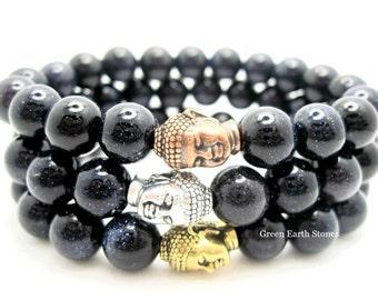 ONE Blue Goldstone Buddha Energy Bracelet, Meditation, Buddhist, Spiritual, Peace, Love