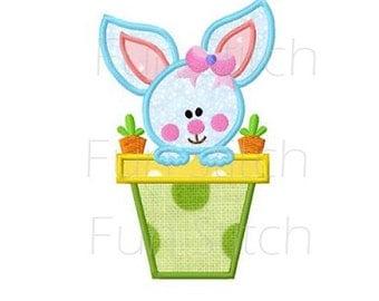Bunny in flower pot applique machine embroidery design