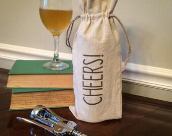 Linen Wine Gift Bag: Cheers