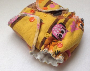 Newborn and Preemie Sunburst Owls Fitted Cloth Diaper