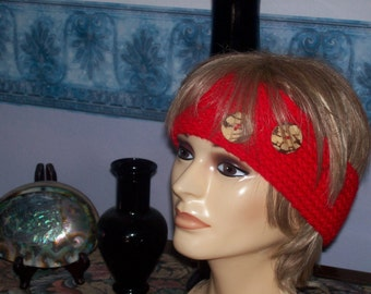 Head Band-Ear Warmer with Wood Buttons