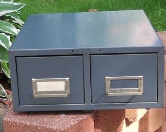 Retro Vintage Industrial Metal Two Drawer Cabinet