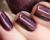 "Nail polish - ""Garnet Fire"" Dark red linear holographic polish with flakies"