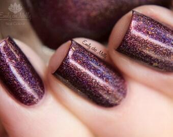 "Nail polish - ""Garnet Fire"" Dark red linear holographic polish with flakies"
