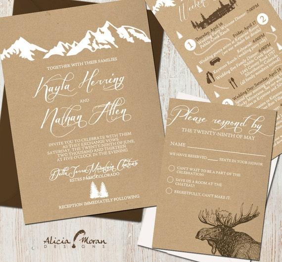 Hochzeit Einladung Suite: (Berge, Colorado, Kraft Papier, rustikal ...