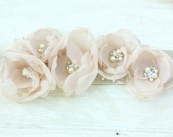 Champagne Organza Bridal Sash with Pearls