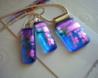 Dichroic Glass Earrings  and Pendant Set Flowered Blue Iridescent Dichroic Fused Glass Dichroic Glass Jewelry Color Shifting Glass Dichronic