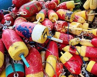 Art Print, Colorful Lobster Buoys, Fishing Decor, Coastal Cottage Decor, Nautical Bathroom Art, Ocean Home, Red Yellow Decor, Coastal Living