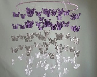 Butterfly Nursery Baby Mobile Ombre Purple Lavender Grey Gray White Butterfly Mobile 14 inch  ANY colors ANY Size