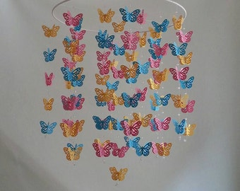 Butterfly Nursery Baby Mobile Colorful Bright Pink Yellow Turquoise Butterfly Mobile 14 inch  ANY colors ANY Size