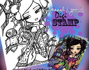 PRINTABLE Asian Mermaid Owl Digi Stamp Coloring Page Fun Fantasy Art Hannah Lynn