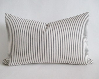 Pillow Cover Lumbar Grey Ticking Stripes 12 x 18