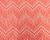 Coral Pink Chevron Crochet Look Maggy London Lace, 1 Yard