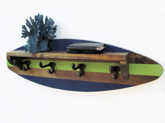 Favori Planche de surf étagère portemanteau en marine et vert YM67