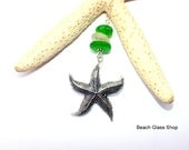 Sterling Sea Glass Necklace -  Starfish Charm -  Lake Erie Beach Glass