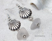 White Sea Glass Earrings - Clamshell Earrings - Lake Erie Beach Glass - Pierced Earrings
