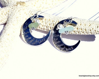 Lake Erie Beach Glass Jewelry - Sea Glass Pendant - I Love You To The Moon And Back - Charm Necklace