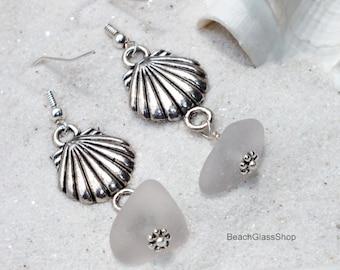 White Sea Glass Earrings - Clamshell Earrings - Lake Erie Beach Glass - Pierced Earrings
