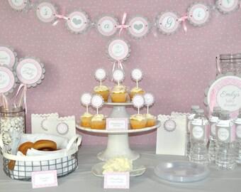 Girls Baby Shower Banner - It's A Girl Banner - Pink and Gray - Girl Baby Shower Decorations - Baby Shower Banner