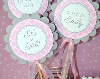 Girls Baby Shower Centerpiece Sticks - It's A Girl Baby Shower Decorations - Pink and Gray - Girl Baby Shower Decorations - Set of 3