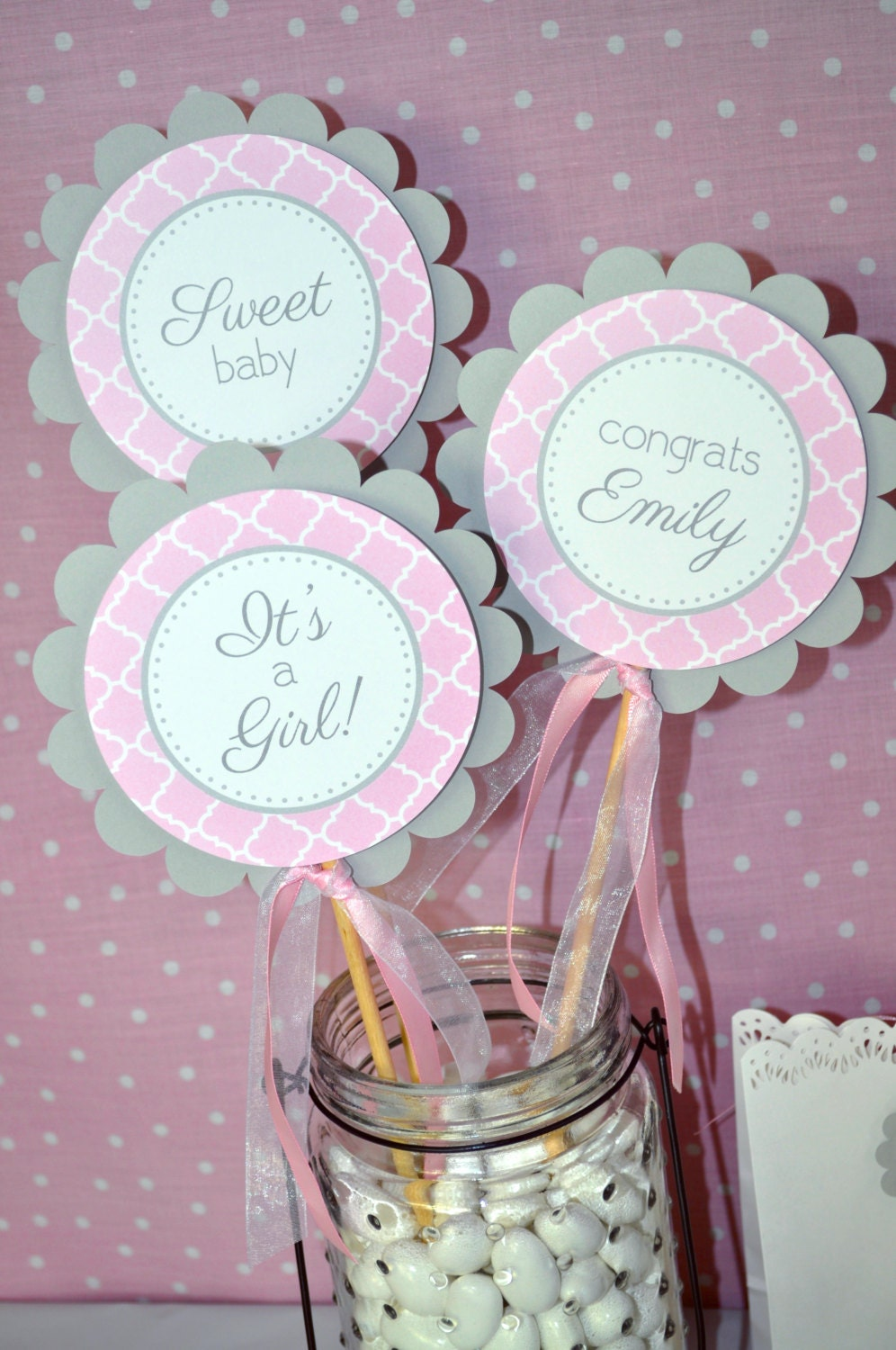 Girls baby shower centerpiece sticks it s a girl