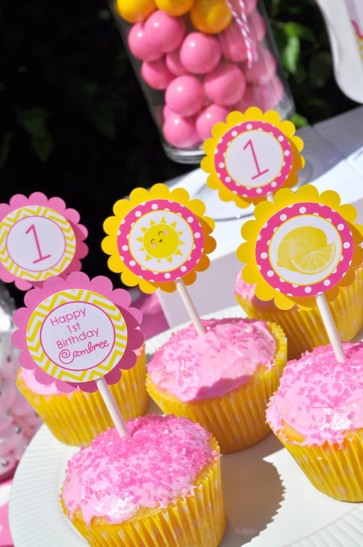 Lemonade And Sunshine Birthday Cupcake Toppers Birthday