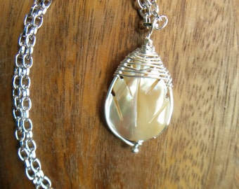 Shell Leaf and Sterling Silver Plated Copper Herringbone Wrap Pendant (with chain)