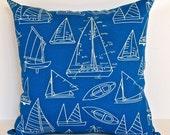 Nautical Pillow Covers, Pillow with Sailboats, Beach House Decor, Nautical Home Decor