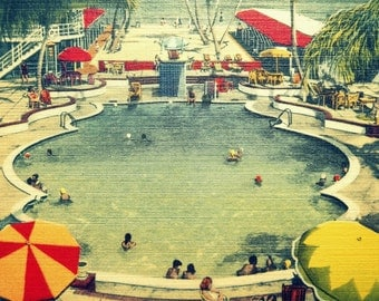 Retro Decor, Mid Century Summer Outdoors  Vintage Florida Art, MCM Print, Mid Century Swimming Pool Art Mid Mod Summer Outdoors Retro Motel