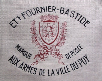 FRENCH Crest Motif 26x26 pillow front /chair upholstery fabric square red black